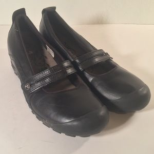 Merrell black mary jane leather loafers